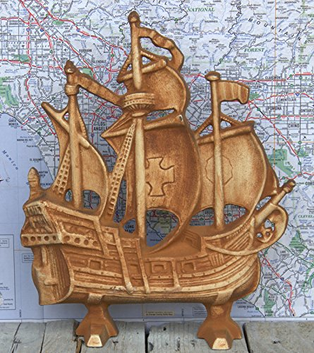 - Cast Iron Galleon Ship Doorstop Sailboat
