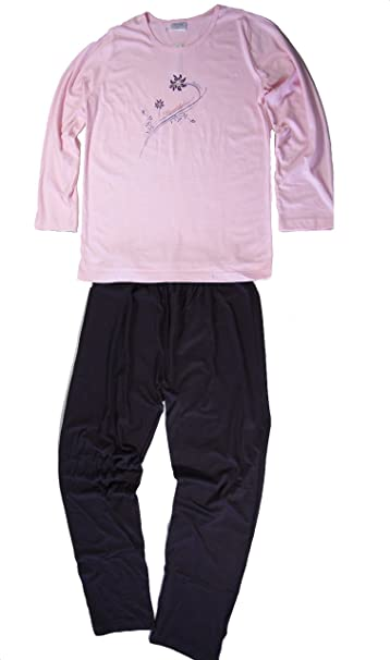 Moonline - Pijama - para mujer Rosa/Schwarz Small