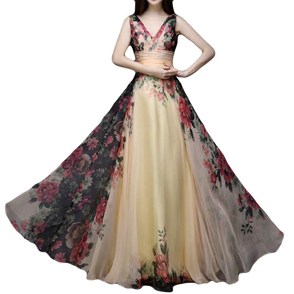 Women Maxi Dress Fashion Floral Print Deep V High Waist Sleeveless Casual Formal Hallmark Prom Cocktail Party Wedding