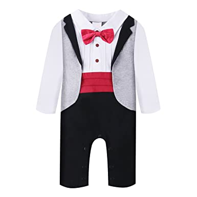 cdbb4c40900f Amazon.com  Baby Boy Romper 1pcs Toddler Outfit Clothing Set Tuxedo ...