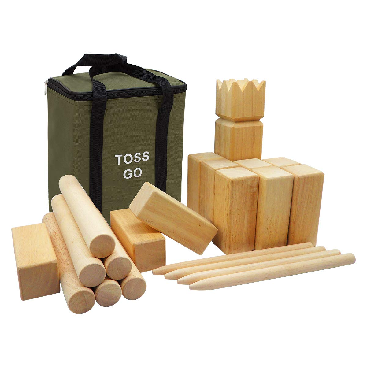 LAWN TIME Toss Go Rubberwood Kubb Game Set - Hardwood Kuub Yard Game - Outdoor Game with Carry Bag