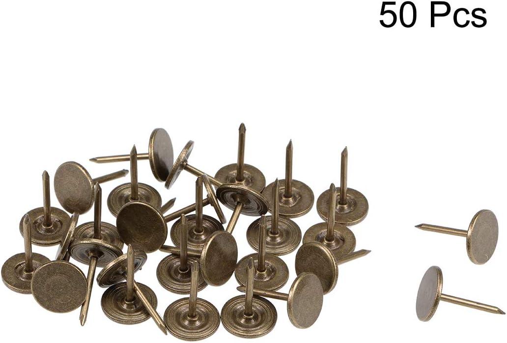 tono bronce Sourcingmap clavos para tapicer/ía de 11 mm x 17 mm de cabeza plana para muebles 50 unidades