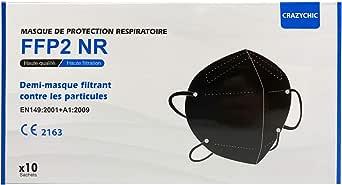 CRAZYCHIC - FFP2 Masker Zwart Mondmasker - CE Gecertificeerd EN149 5 laags - Adembeschermingsmasker Mondkapje - Stofmasker Hoge Filtratie