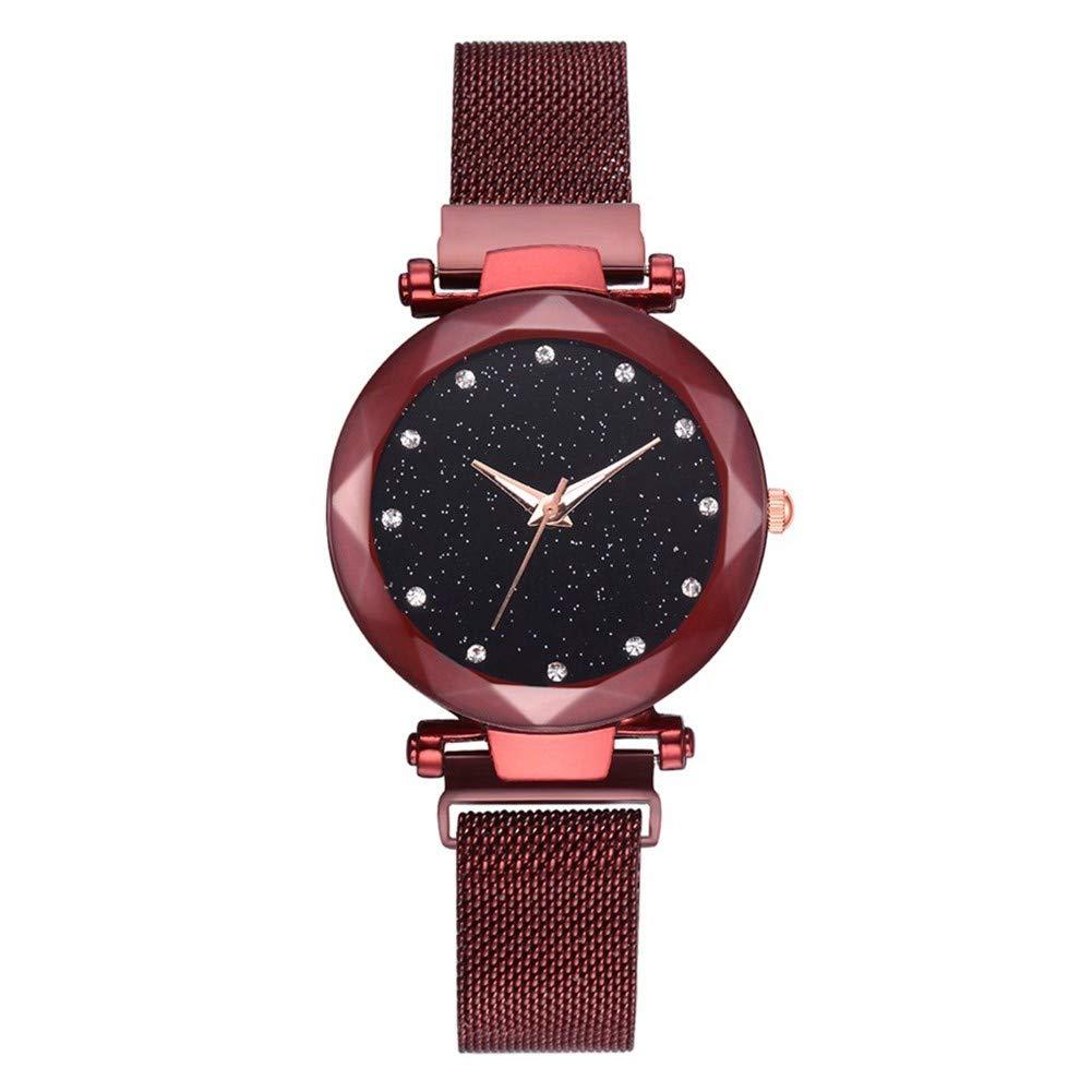 GBVFCDRT Top-Marke Uhren Für Frauen Rose Gold Mesh   Schnalle Starry Quarzuhr Geometrische Oberfläche Lässig Frauen Quarz Armbanduhr