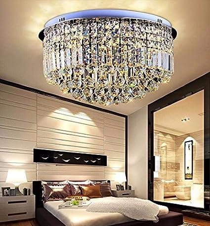 GQLB Luces de Cristal redonda sala Luz de techo LED luces de atenuación promesa dormitorio luz cálida iluminación restaurante moderno y sencillo de 40 * 29 ...