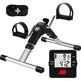 TABEKE Pedal Exerciser Under Desk Bike - Folding Pedal Exerciser for Arm/Leg Workout, Portable Desk Bike Peddler Exerciser wi