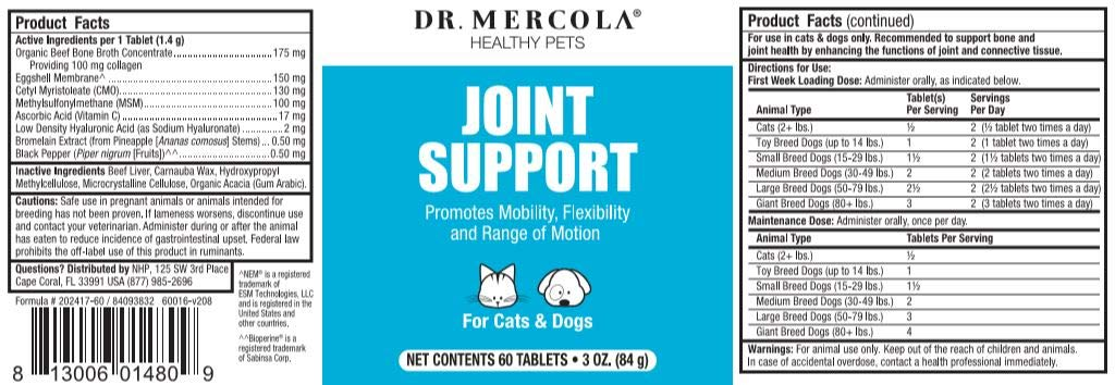 Dr. Mercola, Joint Support, For Cats and Dogs, (60 Tablets), Promotes Mobility, Flexibility, and Range of Motion, non GMO, Soy-Free, Gluten Free by Dr. Mercola