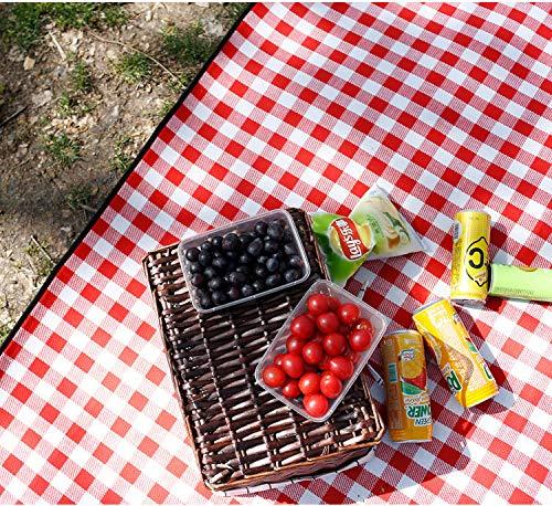 FUWUX Home Stuoie di Picnic all'aperto del Plaid Rosso e Bianco stuoie di Campeggio stuoie Impermeabili del Prato Inglese della Molla Spesso (Dimensione   200x300cm)