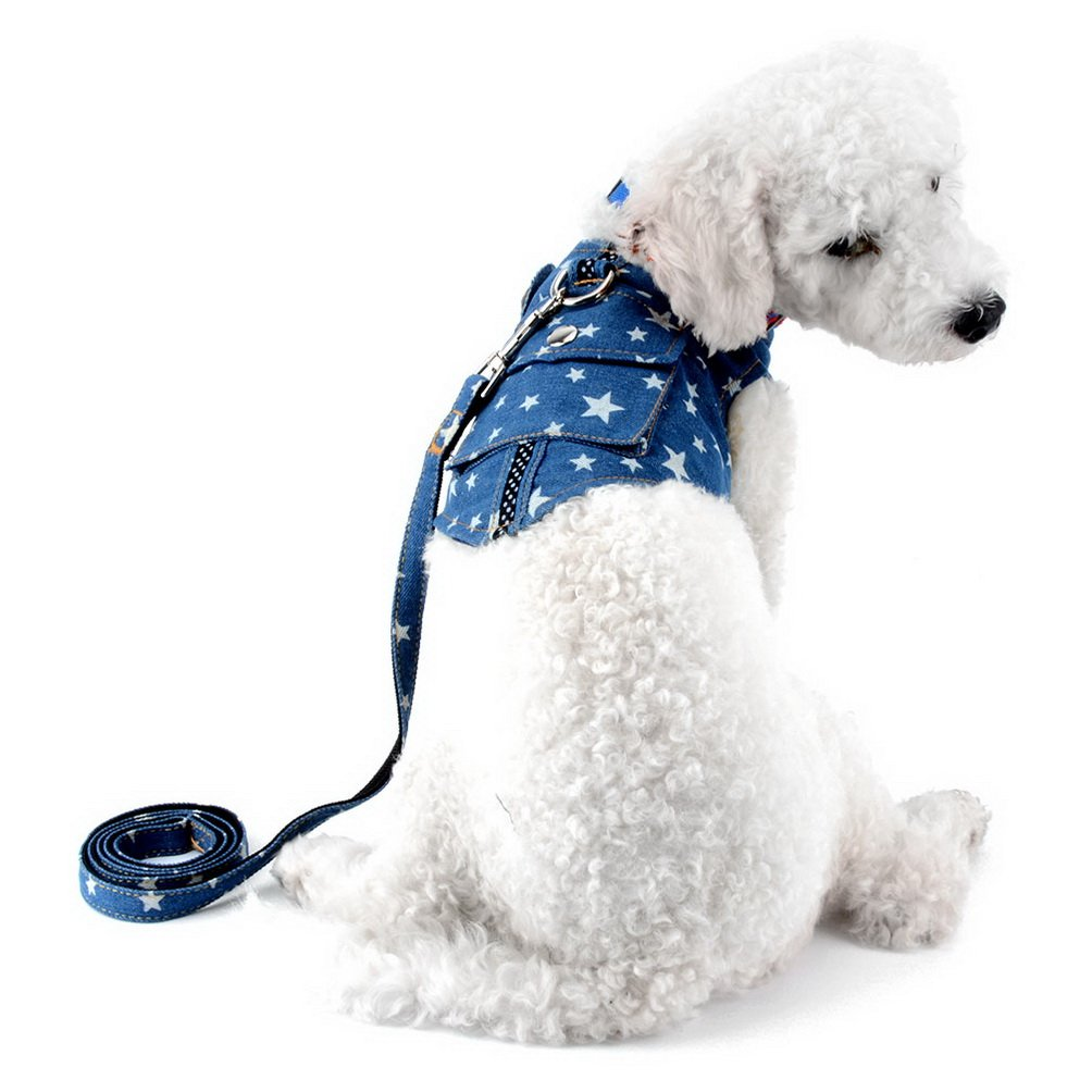 SELMAI Denim Dog Harness Leash Set Lead Jean Jacket Vest Harness with Pocket Adjustable No Pull Durable for Small Puppy Cat Star Size M