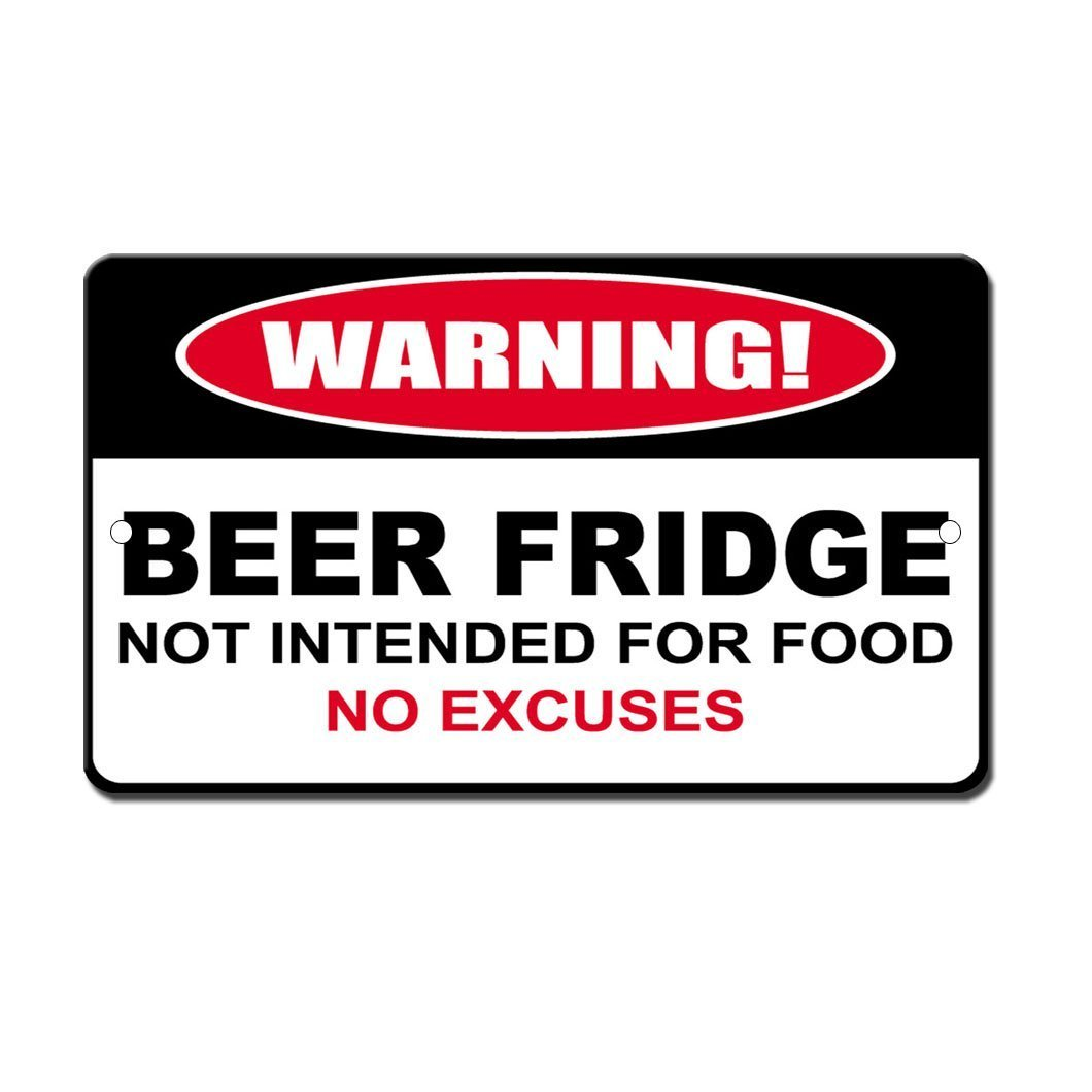Humor Beer Fridge Not For Food Novelty Funny Metal Sign 8 in x 12 in Fastasticdeals SSIGNZHWRNG0038_HR