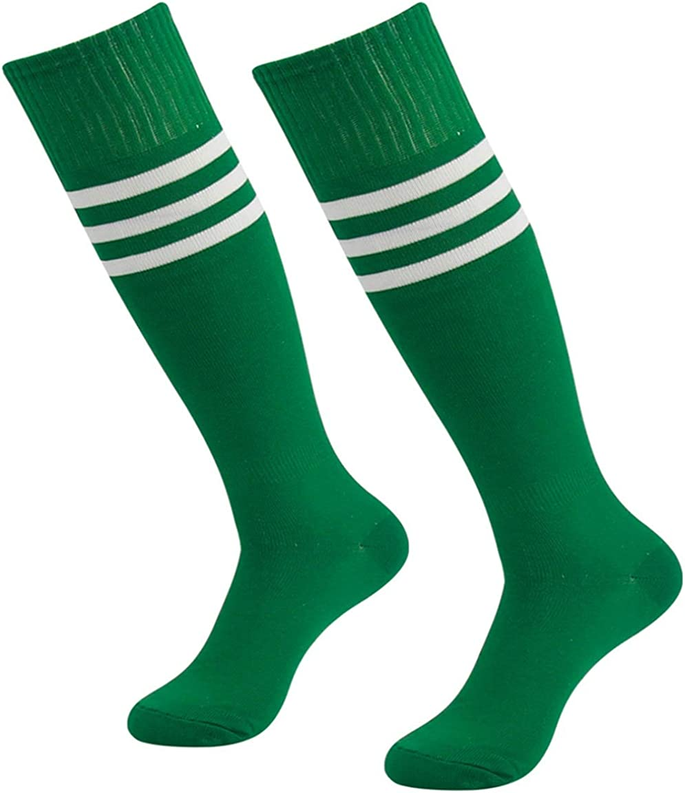 3street Green Tube Socks Unisex Youth Half Cushioned Knee High Sport Athletic Soccer School Group Baseball Rugby Team Halloween Party Socks Green 2-Pairs, 7-13 : Clothing