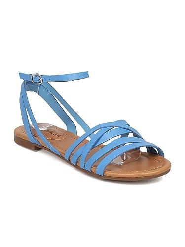 e0b63cf6ed37 Breckelle s Women Leatherette Strappy Flat Sandal GG48 - Blue (Size  ...