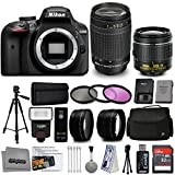 Nikon D3400 DSLR Camera with AF-P DX 18-55mm VR and 70-300mm Lenses + 32GB 15PC Accessory Bundle Kit