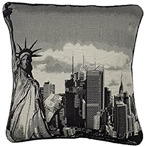 """FILLED TAPESTRY COTTON VELVET STATUE OF LIBERTY NEW YORK AMERICA USA BLACK THICK CUSHION 18"""" - 45CM"""