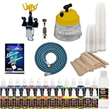 24 Color Acrylic Airbrush Paint Set & Accessories Kit with Airbrush Cleaning Pot & Holder, Air Hose, Quick-Connect and Mixing Cups