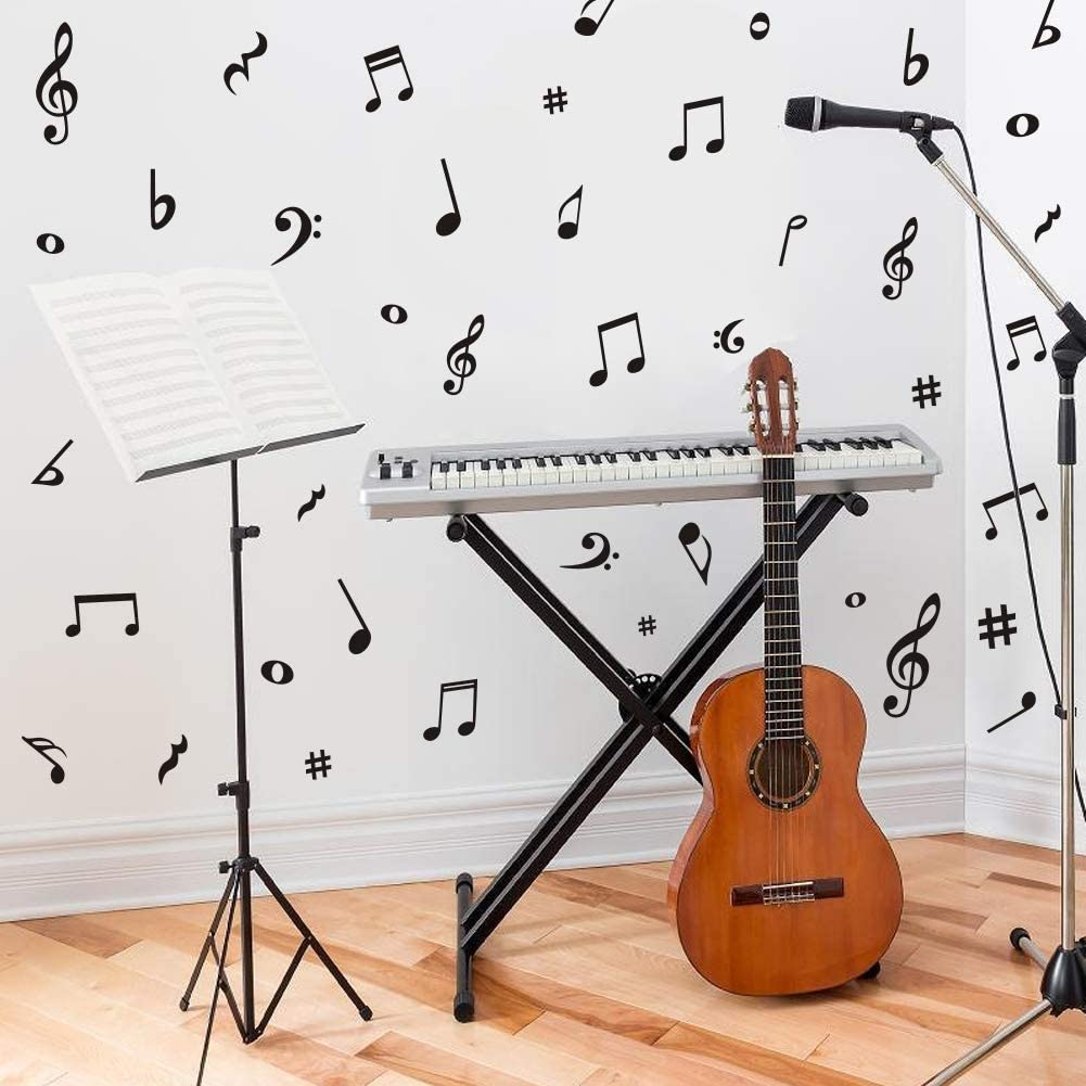 Arttop Musical Note Wall Decals Creative Music Notes Removable Vinyl Wall Stickers For Classroom Kids Room Music Studio Decoration Arts Crafts Sewing