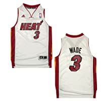YOUTH NBA Miami Heat Wade #3 Pro Quality Athletic Jersey Top with Embroidered Logo & Numbers - White