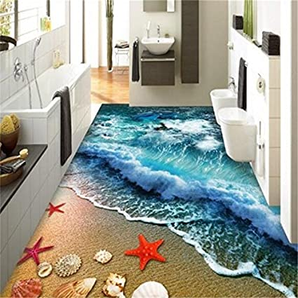 Lwcx Home Bathroom Bedroom Floor Self Adhesive 3d Wallpaper Beach Waves Surfing 3d Floor Tiles Painting 3d Flooring 150x120cm