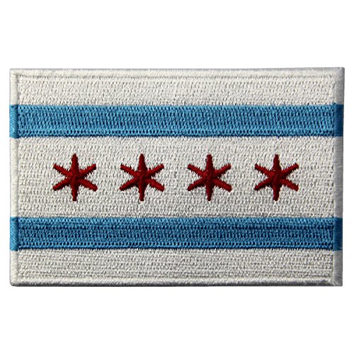 Chicago City Flag Embroidered Iron On Sew On Illinois Patch - City Badge