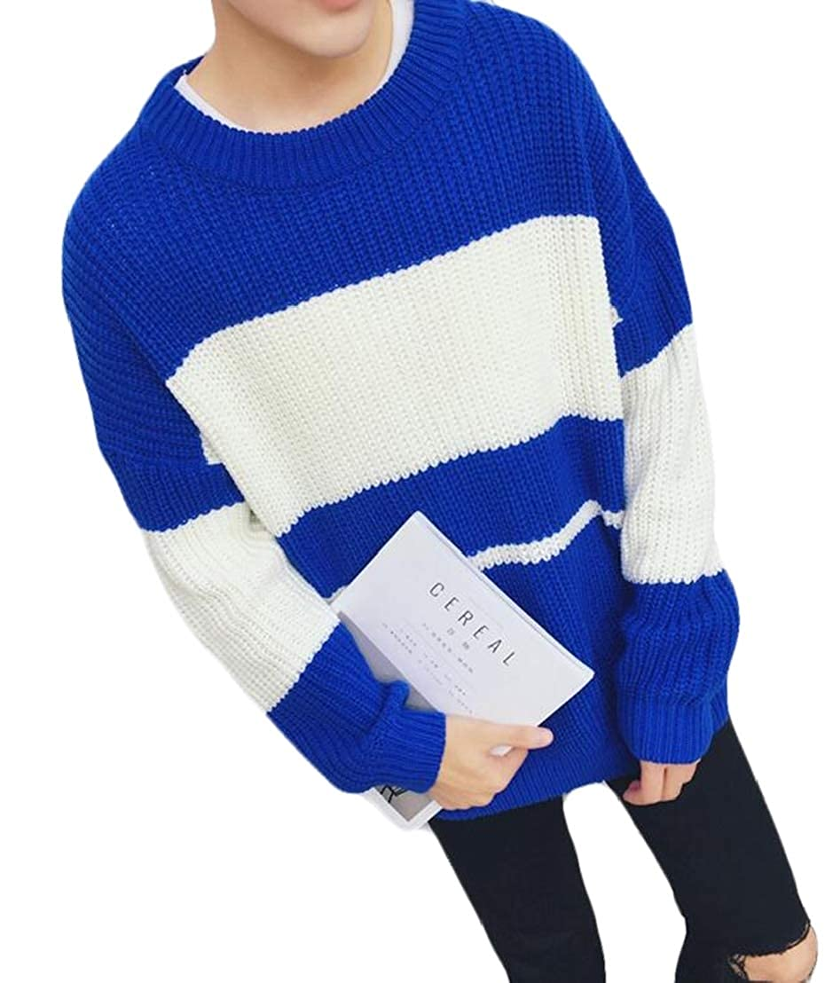 GRMO Men Color Block Comfort Winter Crew Neck Knitted Pullover Stripe Sweater