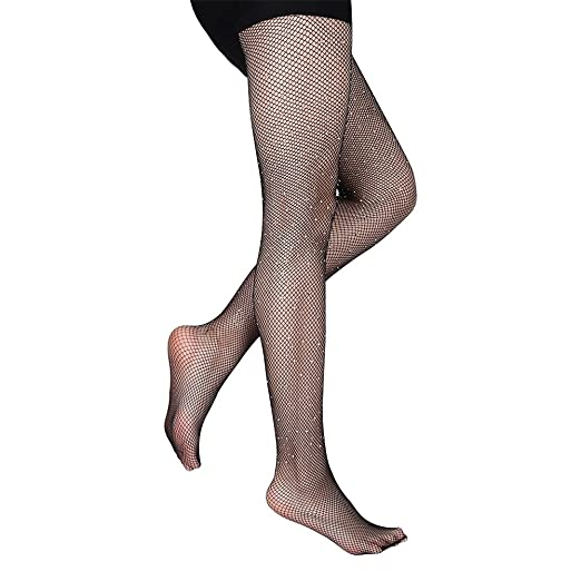 873d6e1d76d Sexy Fishnet Stockings Women s Crystal Sparkle Rhinestone Socks Tight Net  Mesh Pantyhose (Black)