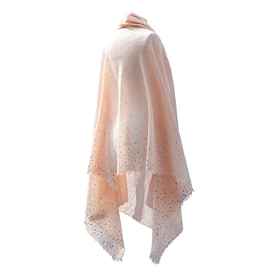 1a861c9ad2 Fine Cashmere Pashmina Shawl handmade in Peach Blush with Swarovski crystals   Amazon.co.uk  Clothing