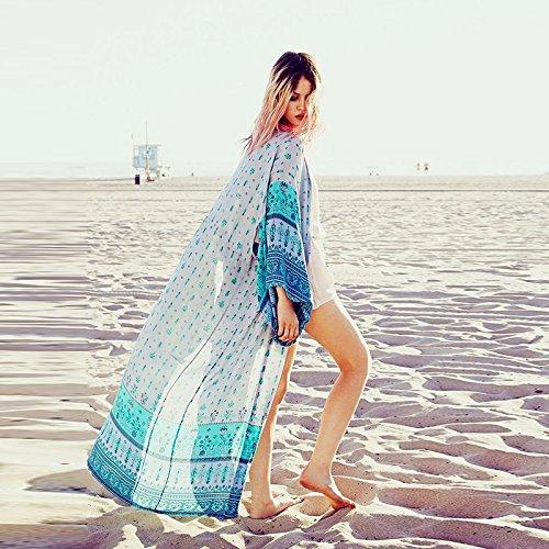 di timbro floreali una cantieri shirt sabbia di con grandi di giacca 2018 motivi nuova tessuto neve sunscreen di ShouYu aprire bikini blu Bikini coprire fino rivestimento dimensione qv4Ot1n
