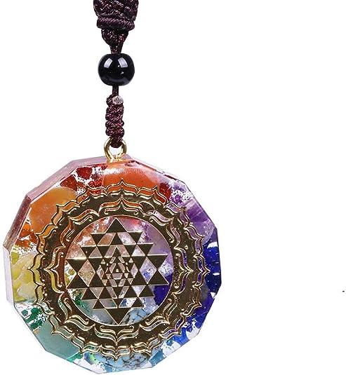 Orgonite Necklace Sri Yantra Pendant Sacred Geometry Chakra Energy Necklace Meditation Jewelry | Amazon.com