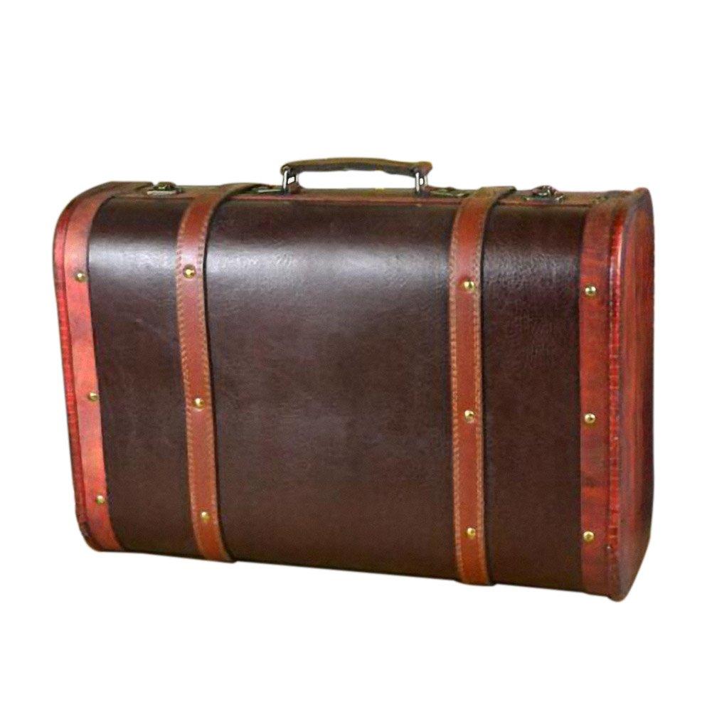 DinQ Giant Wooden Classical Suitcase Storage Antique Style Treasure Box (Black, L)
