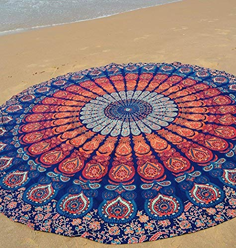 Indian Tablecloth - Popular Handicrafts Round tapestry Indian Mandala Round Roundie Beach Throw Tapestry wall hanging Hippy Boho Gypsy Cotton Tablecloth, Round Yoga Sheet 70