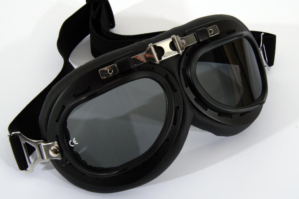 occhiali da moto nero, fumo colorato, nerodi plastica, Finta pelle HeuSa GmbH