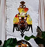Makenier Vintage Tiffany Style Stained Glass Double Parrots Rose Shade Big Wall Lamp Wall Fixture
