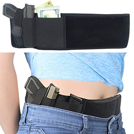 EnriQ Belly Band Holster for Concealed Carry Adjustable Gun Holster Belt  Waistband for Pistols Fits All 1911 Glock 19 43 26 Smith and Wesson MP  Shield