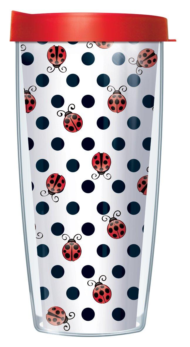 Ladybug Dots 22 Oz Traveler Tumbler Mug with Lid Signature Tumblers