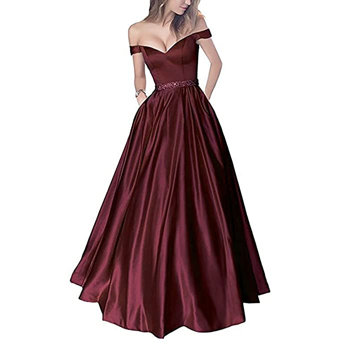 Review Lemai Off Shoulder Beaded Satin V Neck Corset Long Prom Dresses Evening Gowns