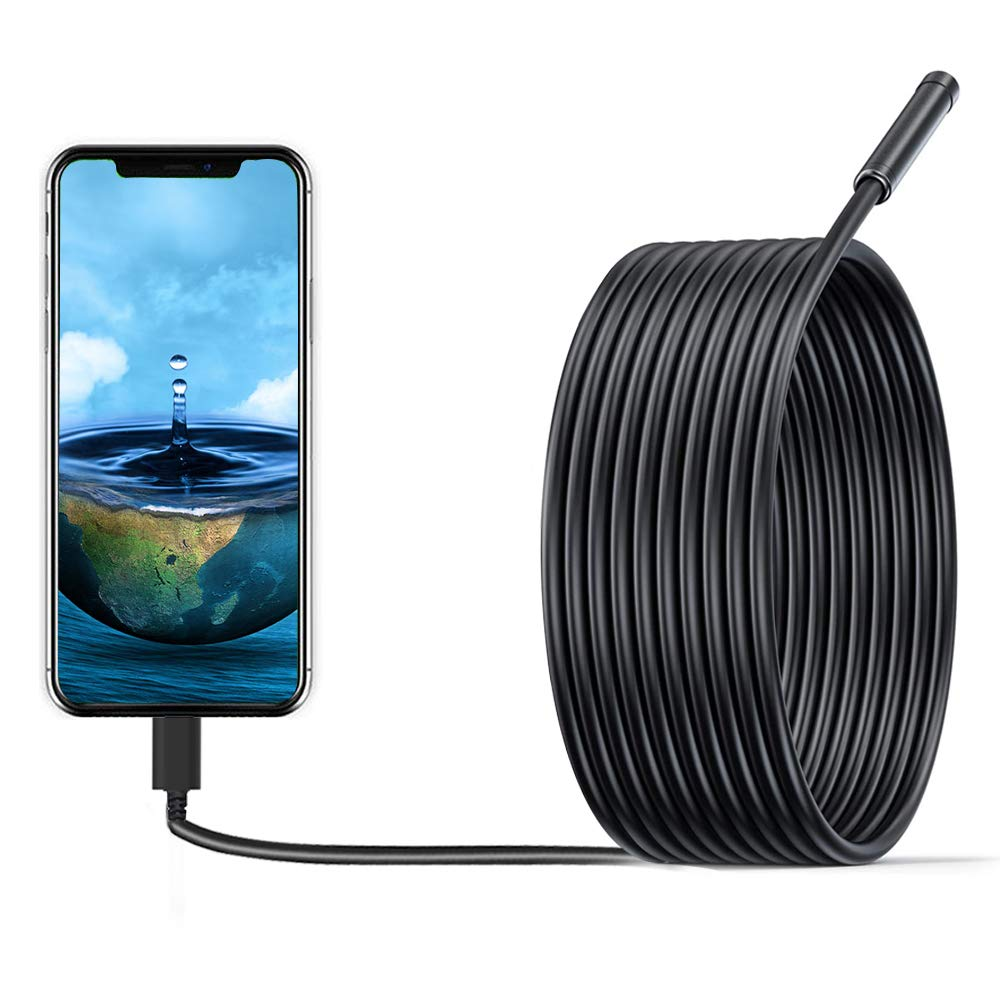 Inspection Camera Endoscope,1200P USB HD Borescope Waterproof IP68 Waterproof Flexible Sink Drain Pipe Snake Camera with 8 Led for PC/Laptop/Computer/OTG& Type-C Android Phone-16.4ft/5M Semi-Rigid