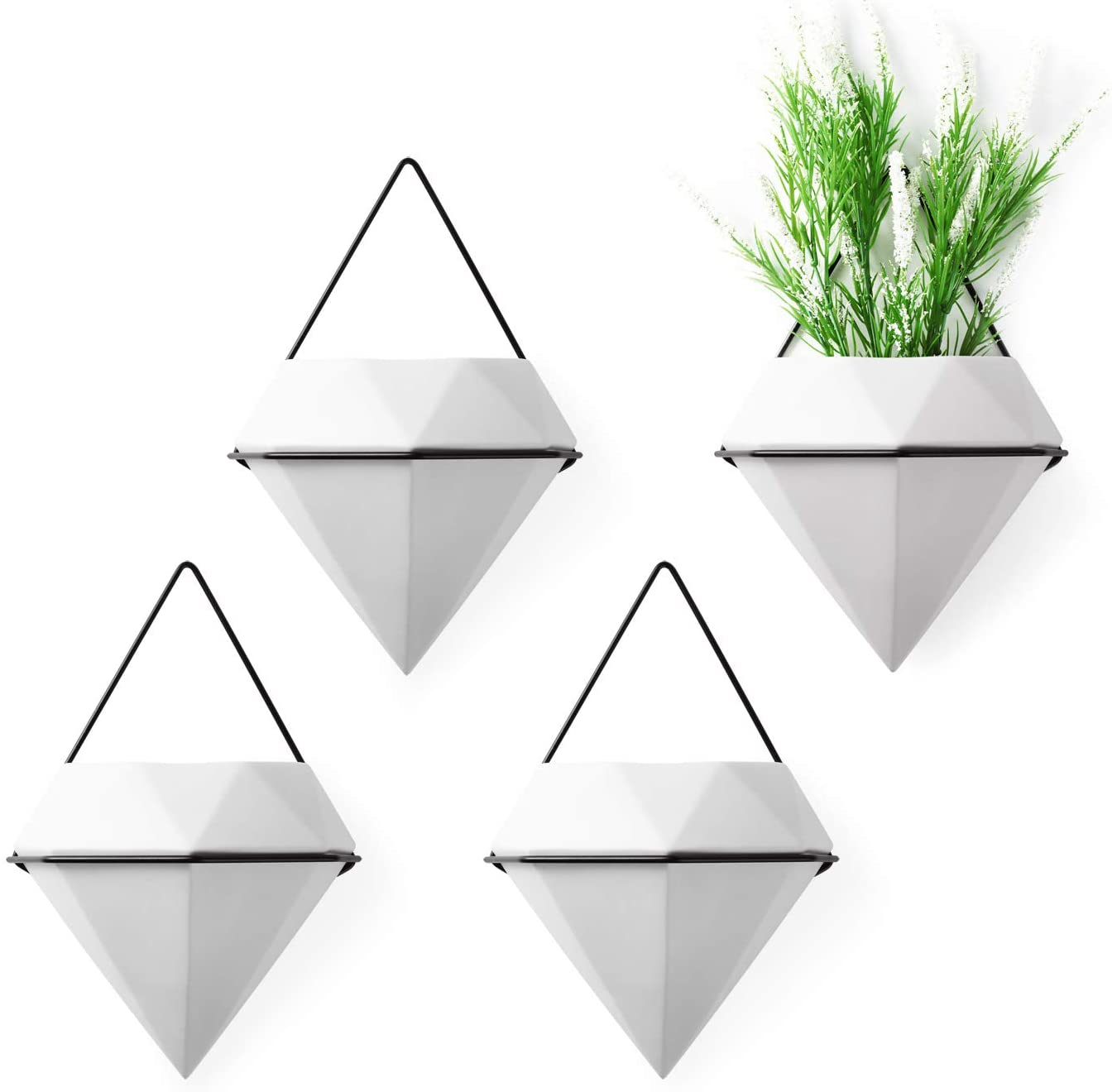 T4U Diamond Wall Planter Geometric Wall Vases White, Set of 4 Ceramic Mounted Succulent Air Plant Flower Pots Cactus Faux Plants Containers White Modern Indoor Decor for Home and Office
