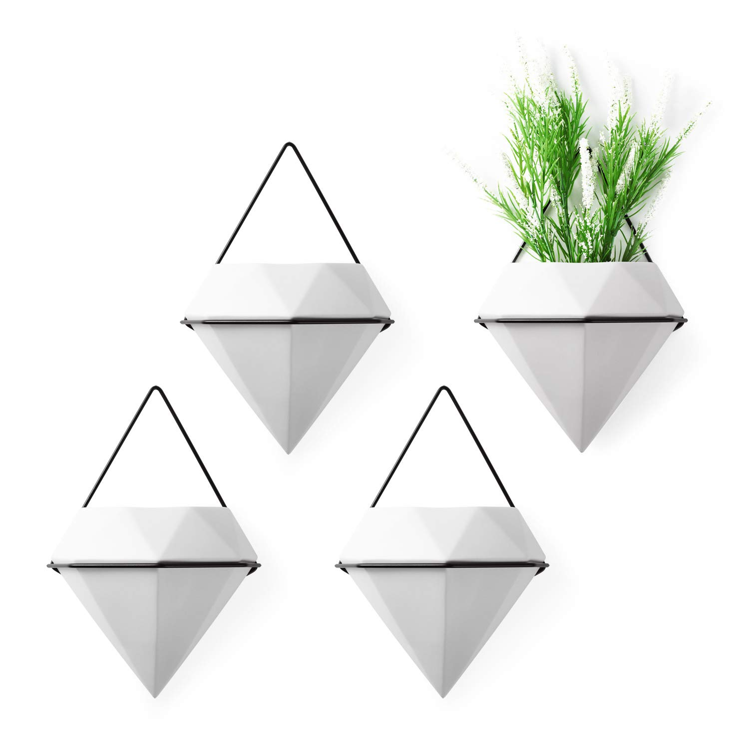 T4U Diamond Wall Planters Geometric Wall Vases Set of 4, Ceramic Mounted Succulent Air Plants Pots Cactus Faux Plant Containers Modern Indoor Decor for Home and Office