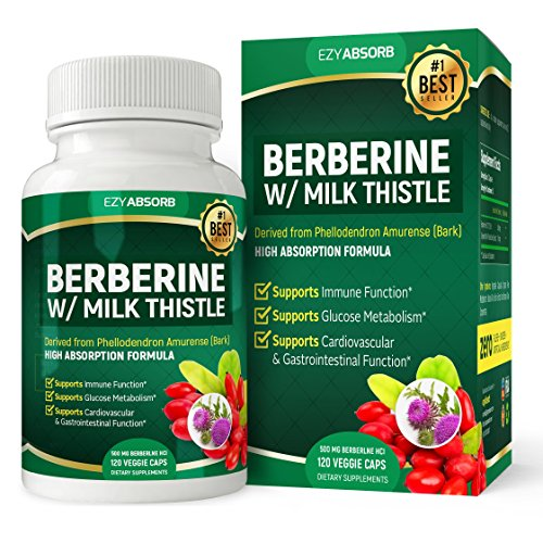 EzyAbsorb Gluten-Free Berberine 500mg /w Milk Thistle veggie capsules for Blood Sugar Support, 120 count
