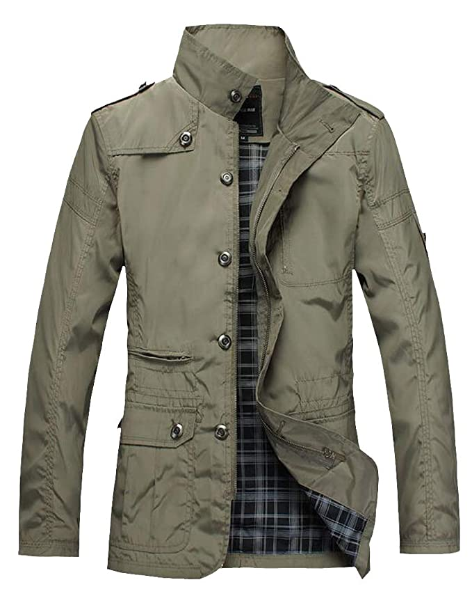 Sweatwater Mens Single Breasted Zip-Up Thick Jacket Stand ...