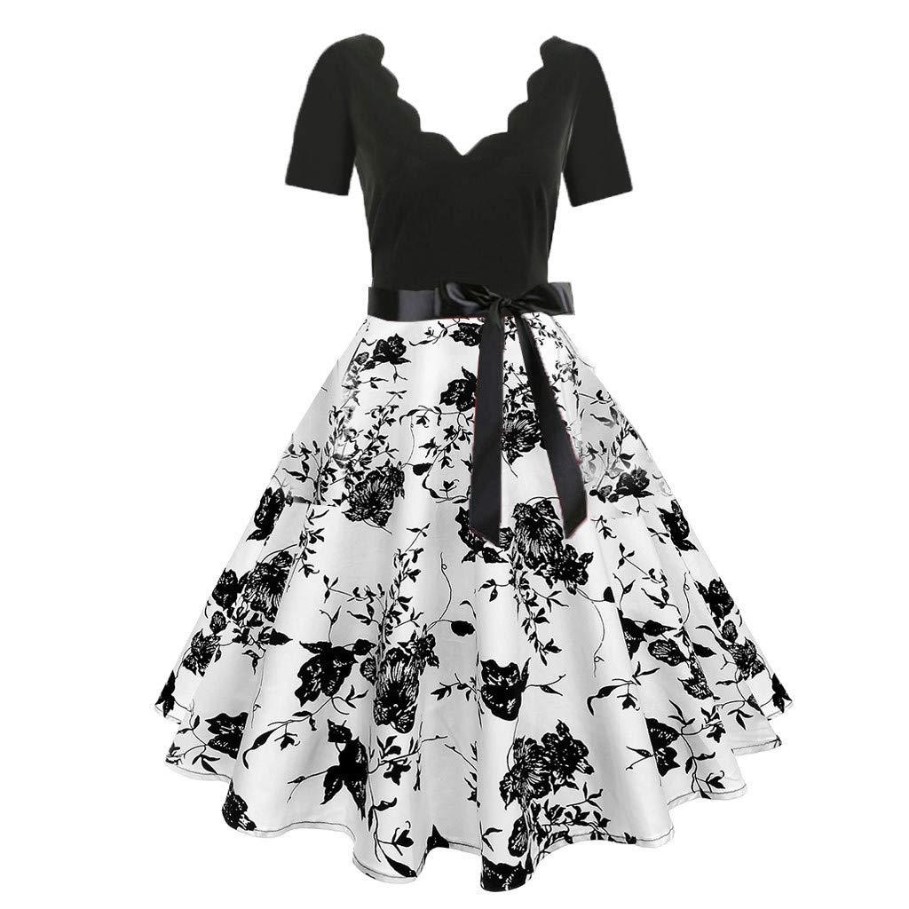 2019 Women Short Sleeve Fashion Print Vintage Flare Dress by ALOVEMO Dress