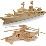Set of 2 Battle Fighter Helicopter and Navy Battleship Model Kit Wooden 3D Puzzles