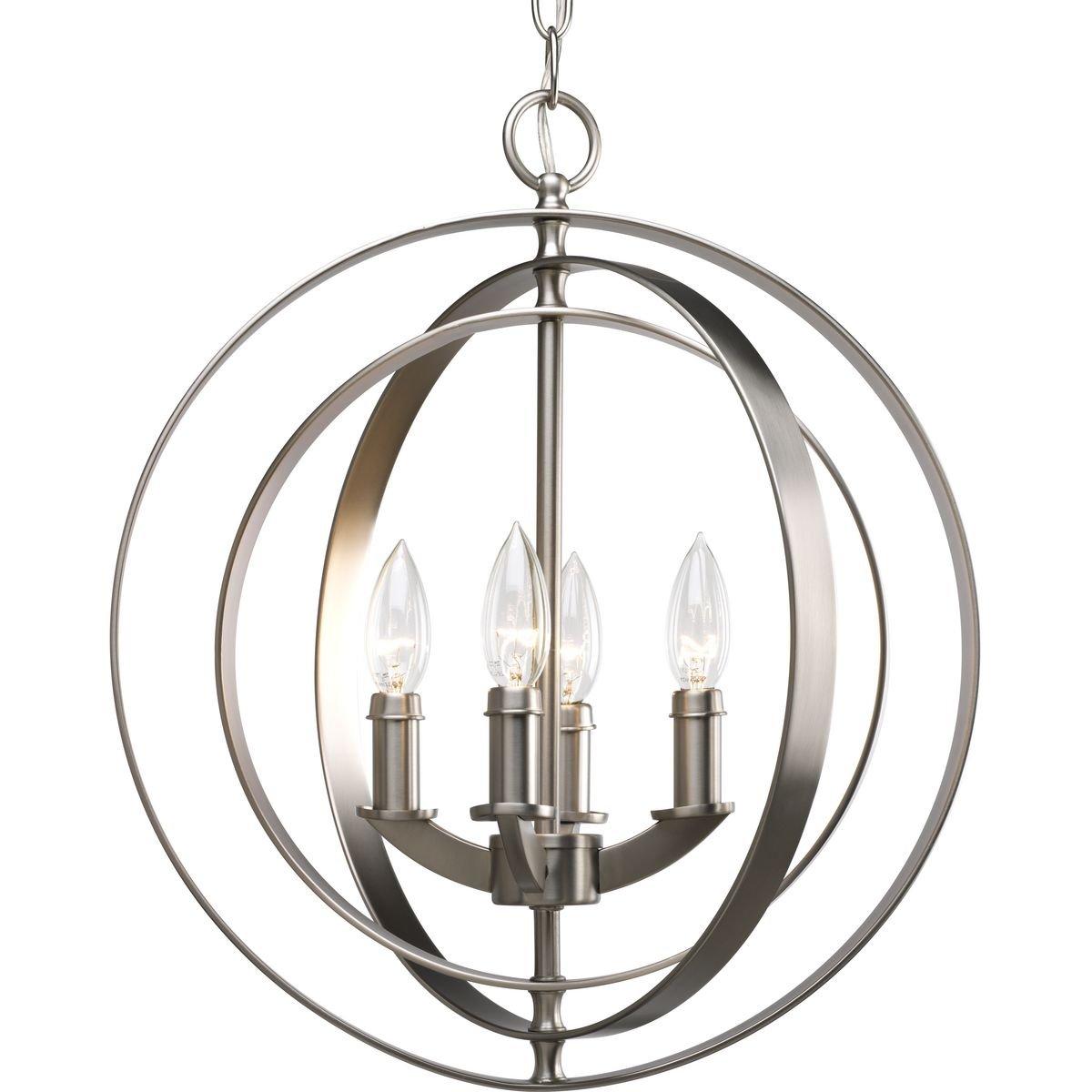 Progress Lighting P3827-126 4-Light Sphere Foyer Lantern with Pivoting Interlocking Rings, Burnished Silver
