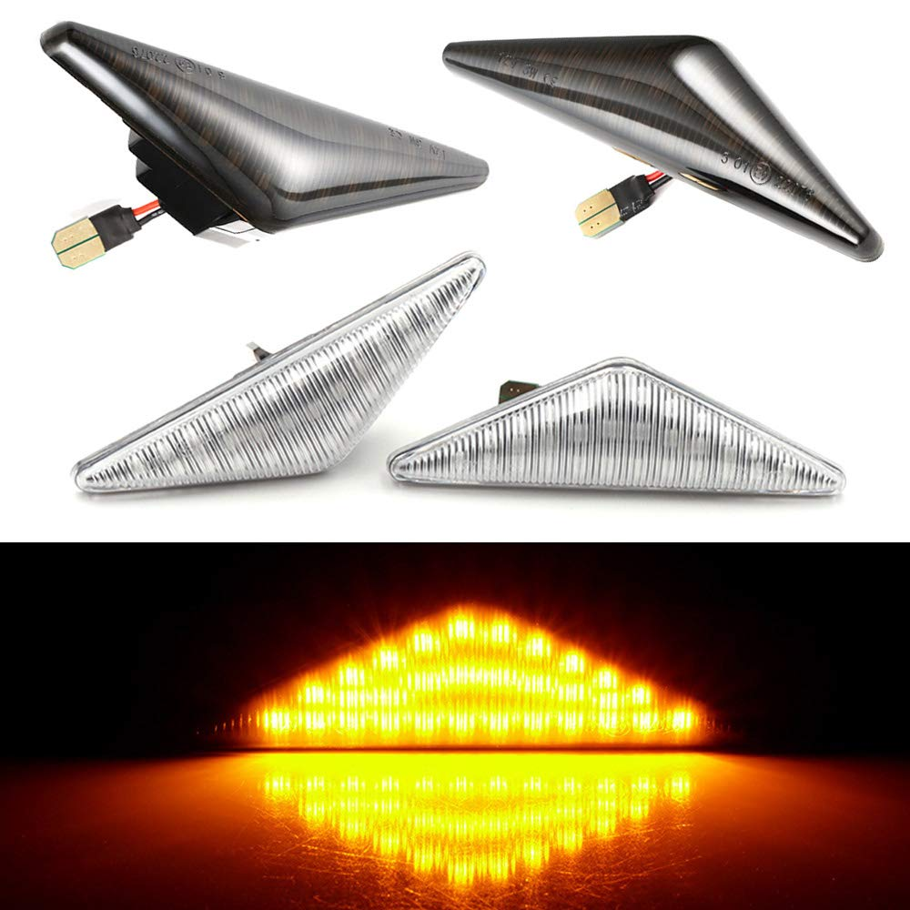 Black 2 /× Flowing LED Side Marker Signal Light Indicators Can bus for Ford Focus MK1