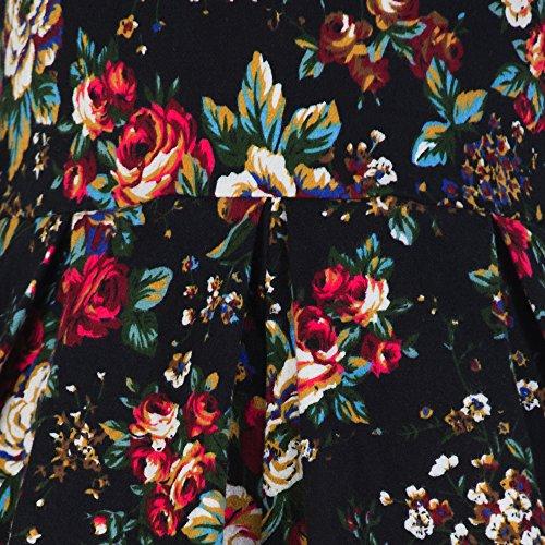 Pretty Kitty Fashion schwarz mehrblütigen Marilyn Swing-Kleid