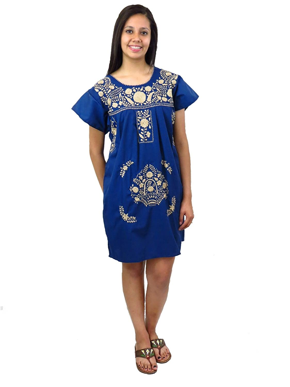 Embroidered Navy Blue Mexican Puebla Tunic Dress - DeluxeAdultCostumes.com