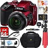 Nikon COOLPIX B500 16MP 40x Optical Zoom Digital Camera w/ Built-in Wi-Fi NFC & Bluetooth (Red) + 64GB SDXC Accessory Bundle