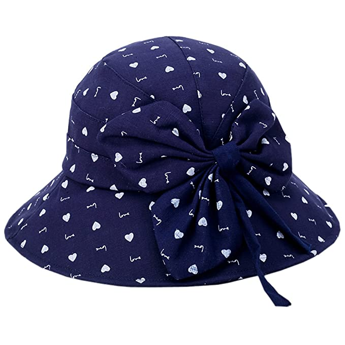 ecee8f59b3578a ACVIP Women's Patterned Packable Summer Outdoor Sun Protection Cloche  Bucket Hat with Bow Trimming (Heart