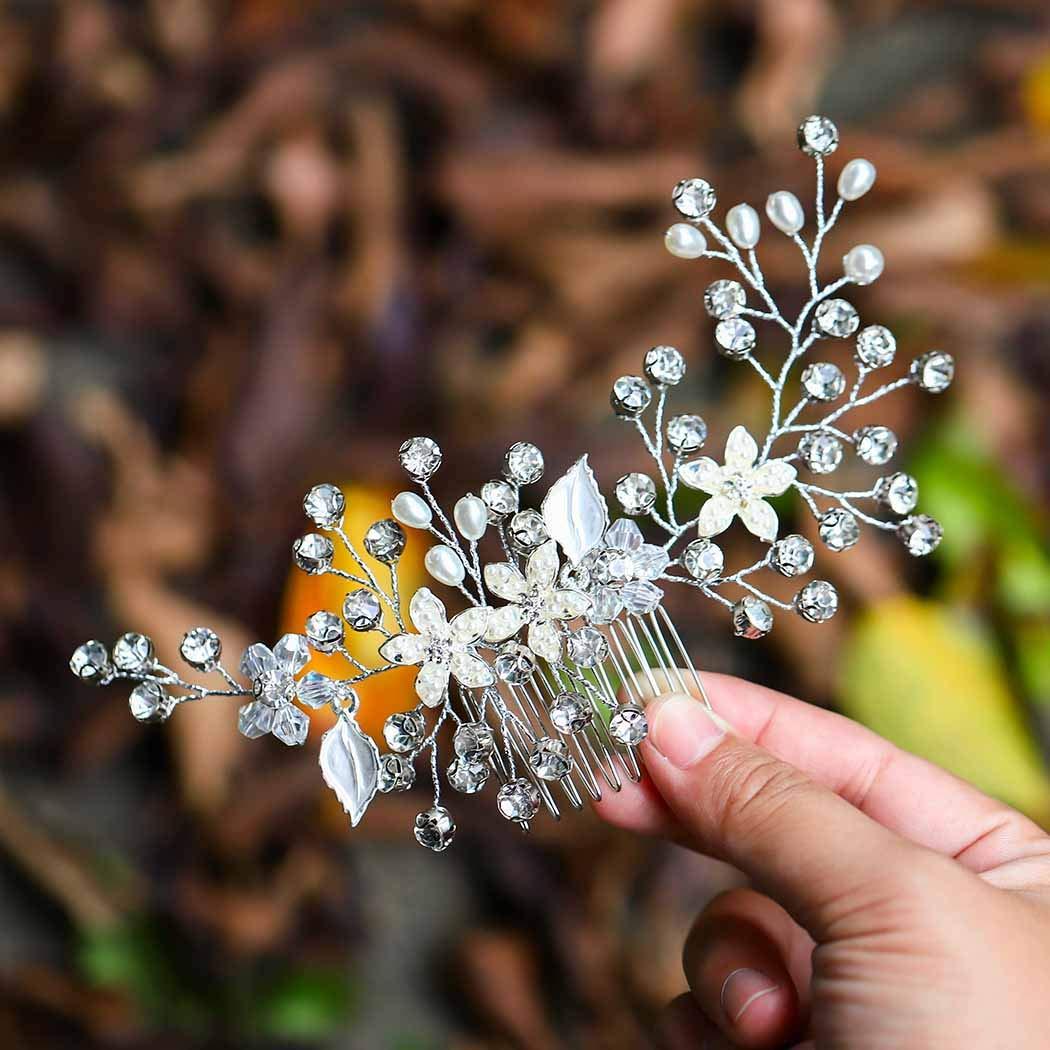 Asooll Bride Wedding Hair Combs Flowers Pearl Bridal Hair Piece Accessories with Crystals for Women and Girls (Silver) by Asooll