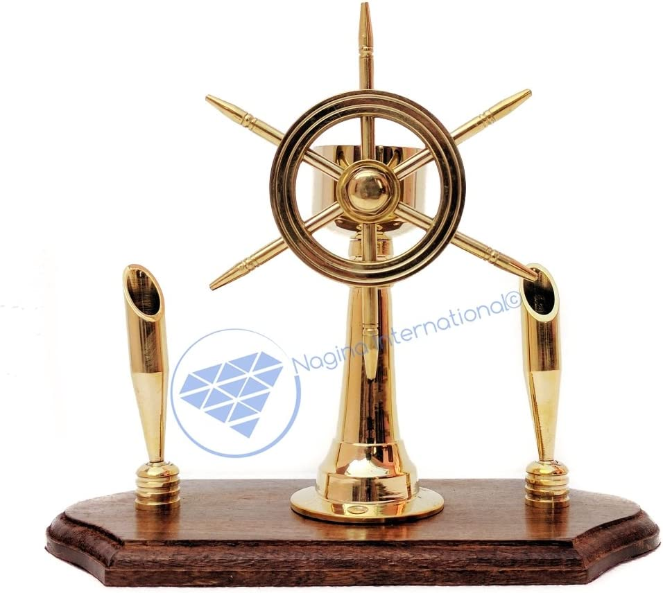 Nagina International Handcrafted Premium Office Decor Pen Holders with Nautical Helmet | Ship Wheel | Navigational Compass | Home DecorativePirate's Gift (Solid Brass Ship Wheel)